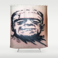 frank Shower Curtains featuring Frank by Corey Remington