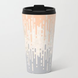 Marble and Geometric Diamond Drips, in Grey and Peach Travel Mug