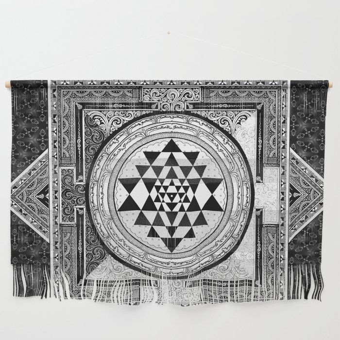Sri Yantra Black White Sacred Geometry Mandala Wall Hanging
