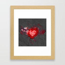 Abstract Love Letter red Grey Crumpled Paper Framed Art Print