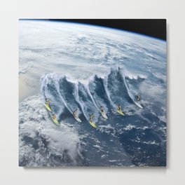 Surfing the Earth Metal Print