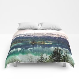 Green Blue Lake and Mountains - Eibsee, Germany Comforters