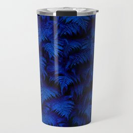Deep Blue Fern Plant Wall Travel Mug