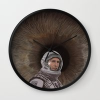 interstellar Wall Clocks featuring INTERSTELLAR by zinakorotkova