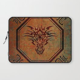 Tribal Dragon Head In Octagon With Dragon Chinese Characters Laptop Sleeve