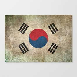 Old and Worn Distressed Vintage Flag of South Korea Canvas Print