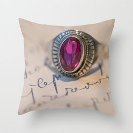 Silver ring with pink gem Throw Pillow