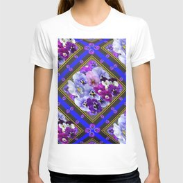 PURPLE & WHITE PANSY GARDEN IN BLUE T-shirt