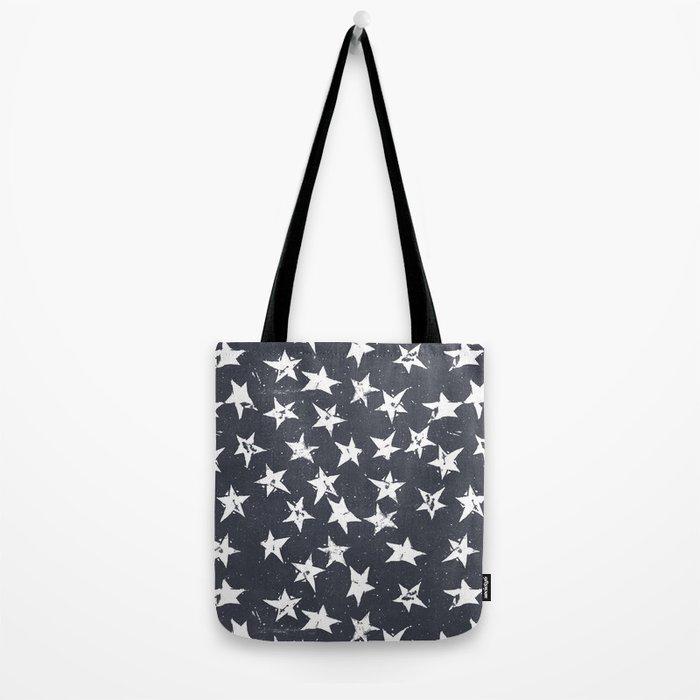 Linocut Stars - Navy & White Tote Bag