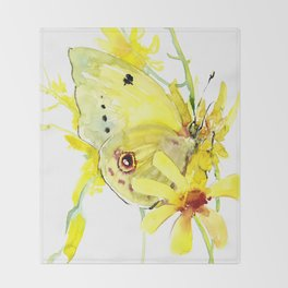 Yellow Butterfly and Yellow Flowers Throw Blanket