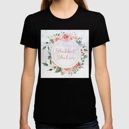 Watercolor Flowers Shabbat Shalom Jewish Art T-shirt
