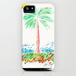 """Lonely Palm"" Mixed Media Sketch iPhone Case"