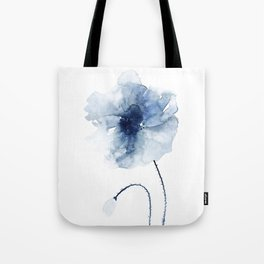 Blue Watercolor Poppies #2 Tote Bag