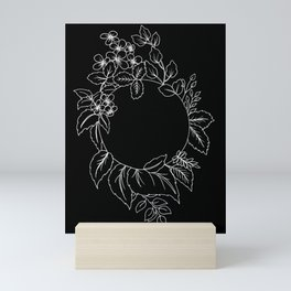 Black Floral Circle Mini Art Print