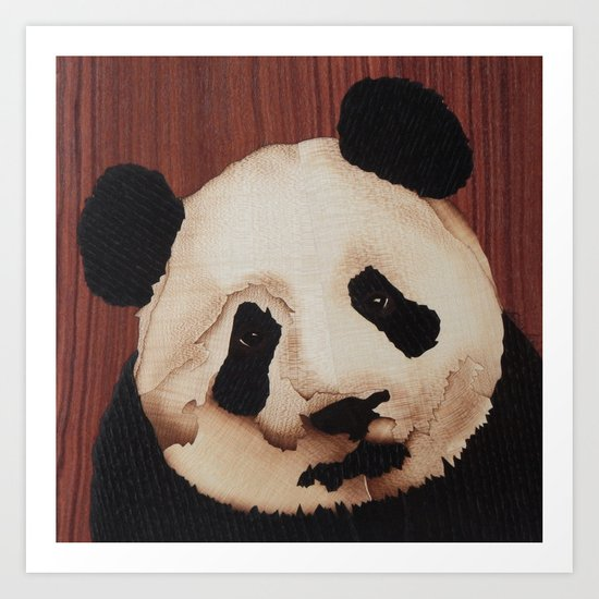 Cute Panda bear wooden marquetry Art Print