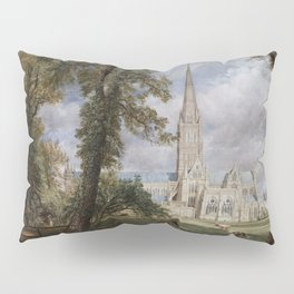 John Constable - Salisbury Cathedral from the Bishop's Garden Pillow Sham