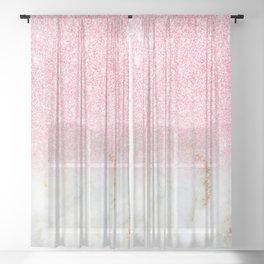 Modern Faux Rose Gold Glitter White Marble Trendy Girly Elegant Luxury Sheer Curtain