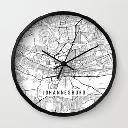 Johannesburg Map, South Africa - Black and White Wall Clock
