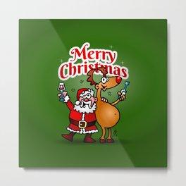 Merry Christmas - Santa Claus and his Reindeer Metal Print