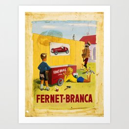 Retro Placard fernet - branca. gouache and watercolor maquette Art Print