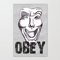 obey Canvas Prints featuring Obey by Cat Milchard
