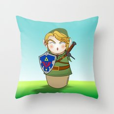 Kokeshi Link  Throw Pillow