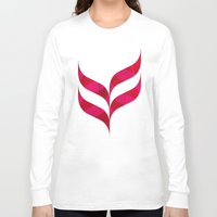 herringbone Long Sleeve T-shirts featuring Red Leaf Herringbone by rollerpimp