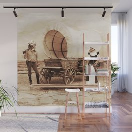 Old West Cowboy Cat and his Gal Wall Mural
