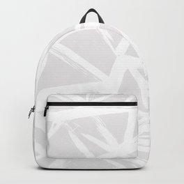 Modern white abstract geometric brushstrokes light grey Backpack