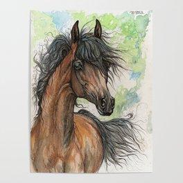 Bay arabian horse Poster