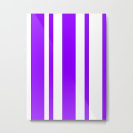 Mixed Vertical Stripes - White and Violet Metal Print