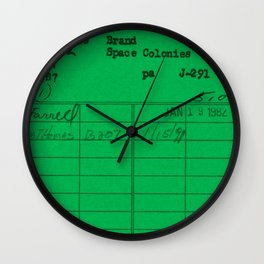 Library Card 797 Green Wall Clock
