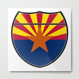 Arizona Flag In An Interstate Sign Metal Print