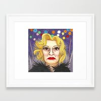 jessica lange Framed Art Prints featuring Ms. Lange  by Insomnious