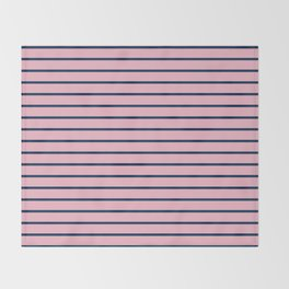 Pink and Navy Blue Horizontal Stripes Throw Blanket