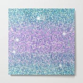 Blue & Lilac Mermaid Glitter Ombre Metal Print