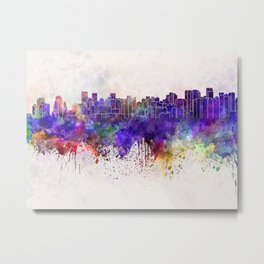 Chengdu skyline in watercolor background Metal Print