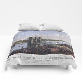 NEW YORK  East River BRIDGE city old map Father Day art print poster Comforters
