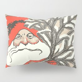 Christmas Pudding And Vintage Santa Vector Pillow Sham