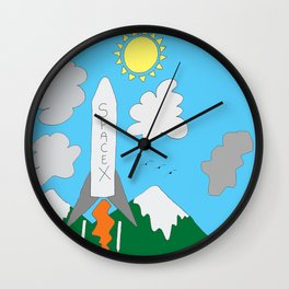 SpaceX Up And Away Wall Clock