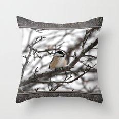 Winter Windblown Black-Capped Chickadee Throw Pillow