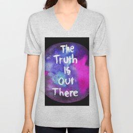 Truth Is  Out There Pink & Purple Nebula Unisex V-Neck