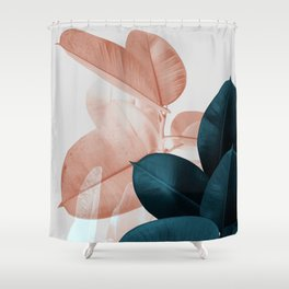 Blush & Blue Leaves Shower Curtain