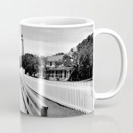 Ocracoke Island Lighthouse View Black and White Coffee Mug
