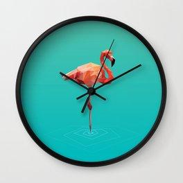 Poly Flamingo Wall Clock
