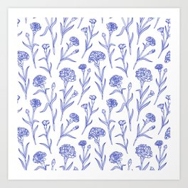 Autumn Carnations White&Blue Art Print