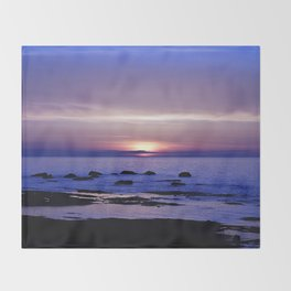 Blue and Purple Sunset on the Sea Throw Blanket