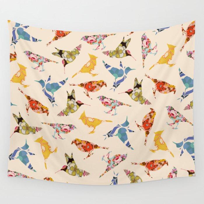 Vintage Wallpaper Birds Wall Tapestry