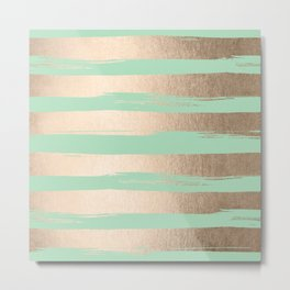 Painted Stripes Gold Tropical Ocean Green Metal Print