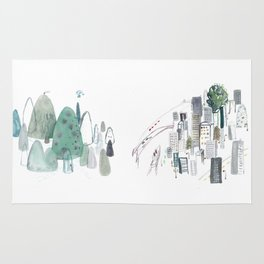 Mountains and the city Rug